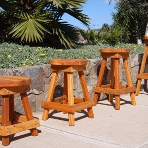 "4 Backless Bar Stool Standard Sizes Available: (Options: 19"", 24"", 29"" and 36"" H, Redwood, Round 15"" Diameter Seat, 4 Legs, No Engraving, Transparent Premium Sealant)"