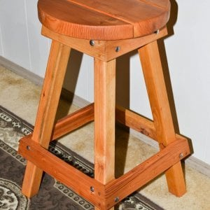 "Backless Bar Stool (Options: 29""H, Douglas-Fir, Round 15"" Diameter Seat, 4 legs, No Engraving, Transparent Premium Sealant)."