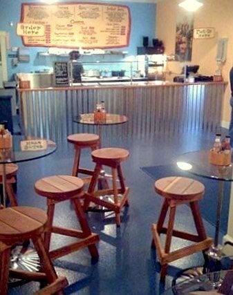 "Backless Bar Stools (Options: 19"", 24"", 29"" and 36"" H, California Redwood, Round 15"" Diameter Seat, 3 Legs, No Engraving, Transparent Premium Sealant). Photo Courtesy of Bebop Burrito of Warren, Rhode Island."