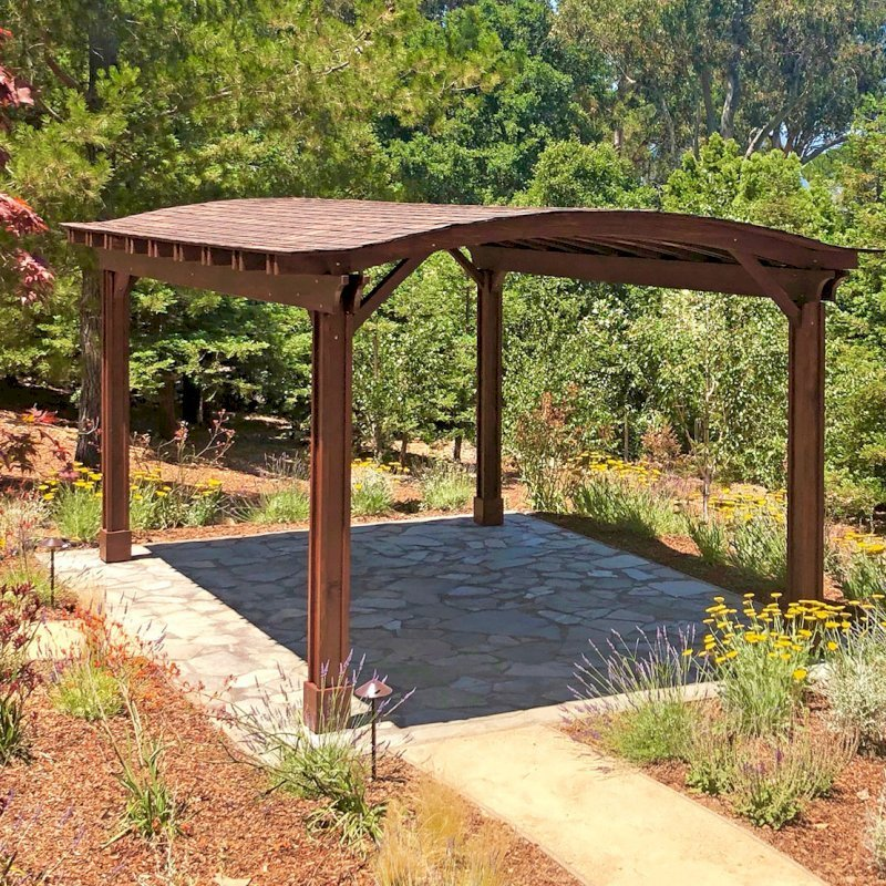 Backyard Pavilion (Options: 20' L x 14' Arc W, California Redwood, 1 Electrical Wiring Trim, 4 Post Anchor Kit for Gale-Wind, 1 Ceiling Fan Base, No Privacy Panels, No Curtain Rods, 9.5 ft Post Height, Transparent Premium Sealant). Photo Courtesy of G. Fanton of Portola Valley , California