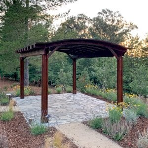 Backyard Pavilion (Options: 20' x 14', California Redwood, No Electrical Wiring Trim, 4-post Anchor Kit for Gale-Wind, 1 Ceiling Fan Base, No Privacy Panels, No Curtain Rods, 9.5 ft Post Height, Coffee-Stain Premium Sealant). Photo Courtesy of G. Fanton of Portola Valley , California.