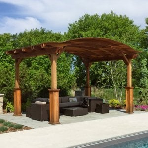 "Backyard Pavilion (Options: 16'-6"" x 12'-6"", Redwood, 1 Electrical Wiring Trim Kit, 4 Post Anchor Kit for Concrete, No Ceiling Fan Base, No Privacy Panels, No Curtain Rods, 9.5 ft Post Height with Custom Bottom Trims, Transparent Premium Sealant). Photo Courtesy of A. Metzger of Lake Elmo, Minnesota."