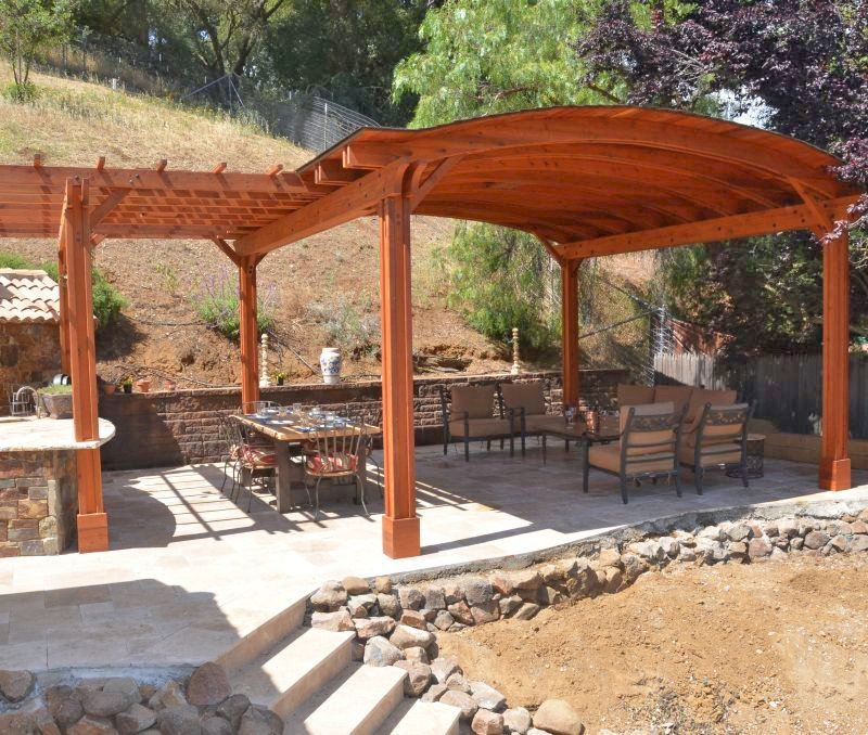 Custom Backyard Pavilion (Options: 18' x 18', with 9' x 14' Garden Pergola Attached, California Redwood, 1 Electrical Wiring Trim Kit, 6 Post Anchor Kit for Gale-Wind, 2 Ceiling Fan Bases, No Privacy Panels, No Curtain Rods, 10 ft Post Height, Transparent Premium Sealant). Photo Courtesy of J. Angwin of Morgan Hill, CA.