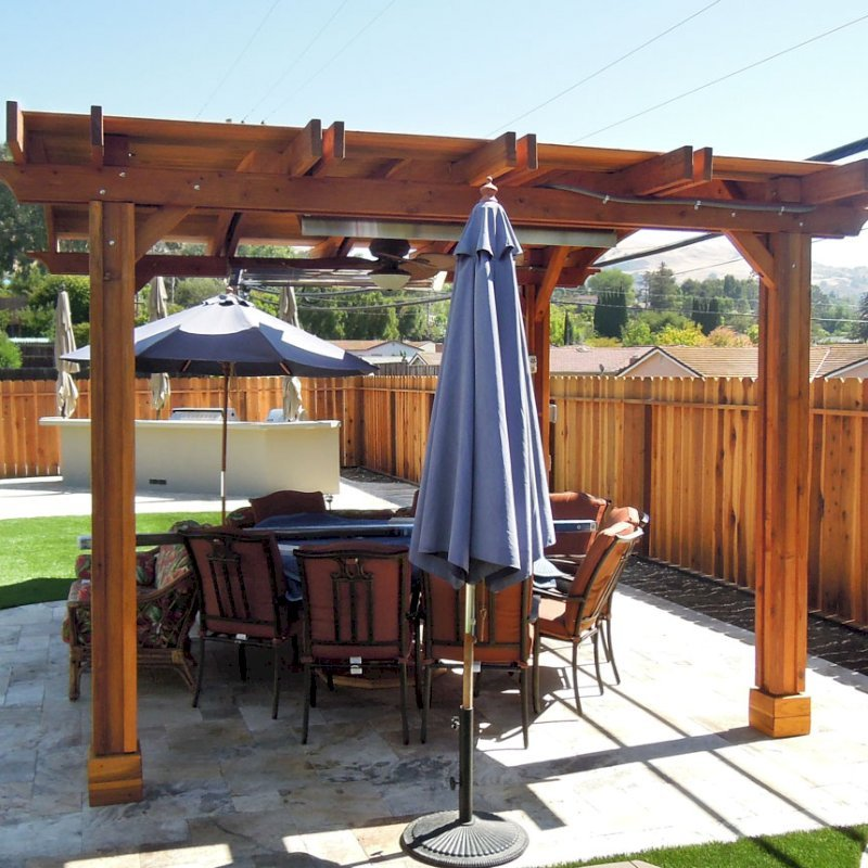 Backyard Pavilion (Options: 14' L x 16' Arc W, California Redwood, 2 Post Electrical Wiring Trim, 4 Post Anchor Kit for Stone, Add Ceiling Fan Base, No Privacy Panels, No Curtain Rods, 9 ft Post Height, Transparent Premium Sealant).