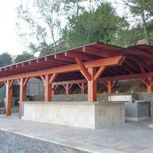 Backyard Lifestyle Pavilion (Options: 29' x 43' Custom Size, Mature Redwood, No Electrical Wiring Trim, No Anchor Kit, Transparent Premium Sealant). Photo Courtesy of Michael Dougherty of CA.