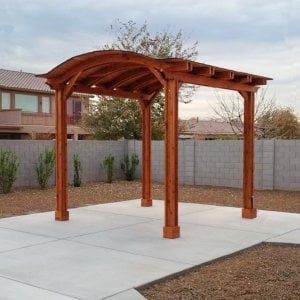 Backyard Pavilion (Options: 12' x 12', Mature Redwood, Electrical Wiring Trim Kit for 2 Posts, 4 Post Anchor Kit for Stone, Add Ceiling Fan Base, No Privacy Panels, No Curtain Rods, 10 ft Post Height, Transparent Premium Sealant). Photo Courtesy of Connie Josephson of Laveen, Arizona.