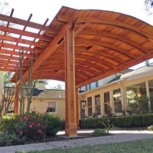 Custom Backyard Pavilion with a Garden Pergola(Options: 24' L x 16' Arc W [Garden Pergola is 10' L x 15' W], Redwood, 2 Post Electrical Wiring Trim, 6 Post Anchor Kit for Gale-Wind, With 2 Ceiling Fan Bases, No Privacy Panels, No Curtain Rods, 10 ft Post Height, Transparent Premium Sealant). Photo Courtesy of Jeff A. of San Ramon, CA.