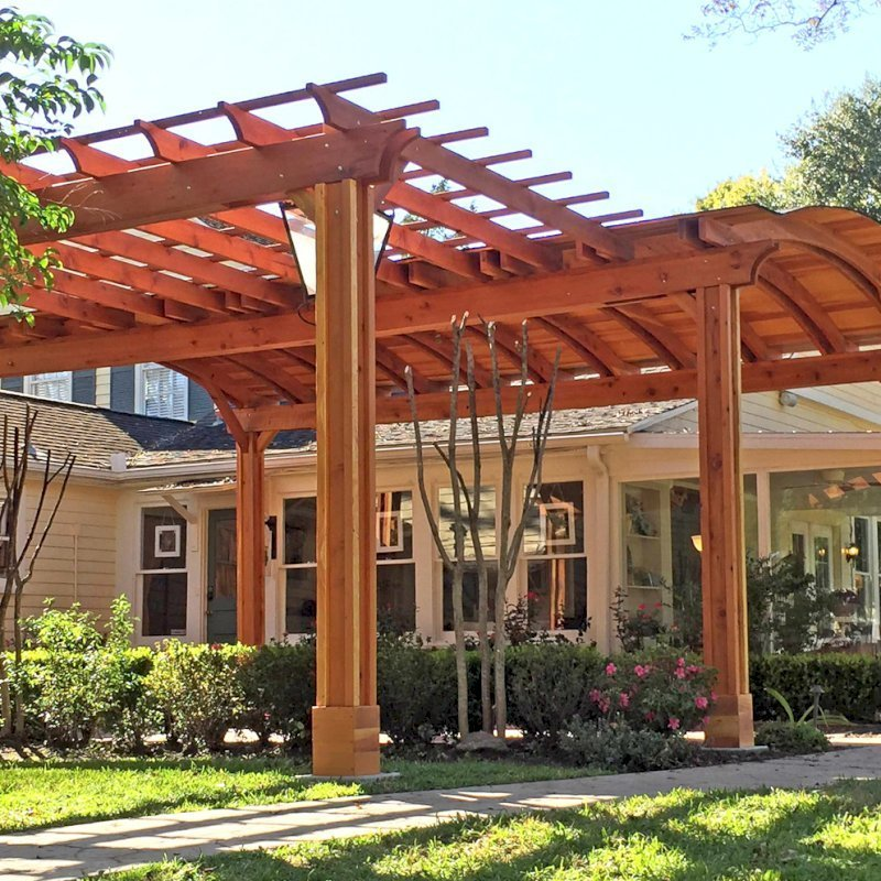 Custom Backyard Pavilion with a Garden Pergola(Options: 24' L x 16' Arc W [Garden Pergola is 10' L x 15' W], California Redwood, 2 Post Electrical Wiring Trim, 6 Post Anchor Kit for Gale-Wind, With 2 Ceiling Fan Bases, No Privacy Panels, No Curtain Rods, 10 ft Post Height, Transparent Premium Sealant). Photo Courtesy of Jeff A. of San Ramon, CA.