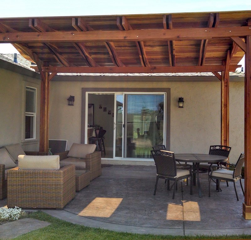 Backyard Pavilion (Options: 18' x 15', California Redwood, No Electrical Wiring Trim, 4 Post Anchor Kit for Stone, No Ceiling Fan Base, No Privacy Panels, No Curtain Rods, 9.5 ft Post Height, Transparent Premium Sealant). Note: Skylights are custom add-on we can do for any size Pavilion roof..