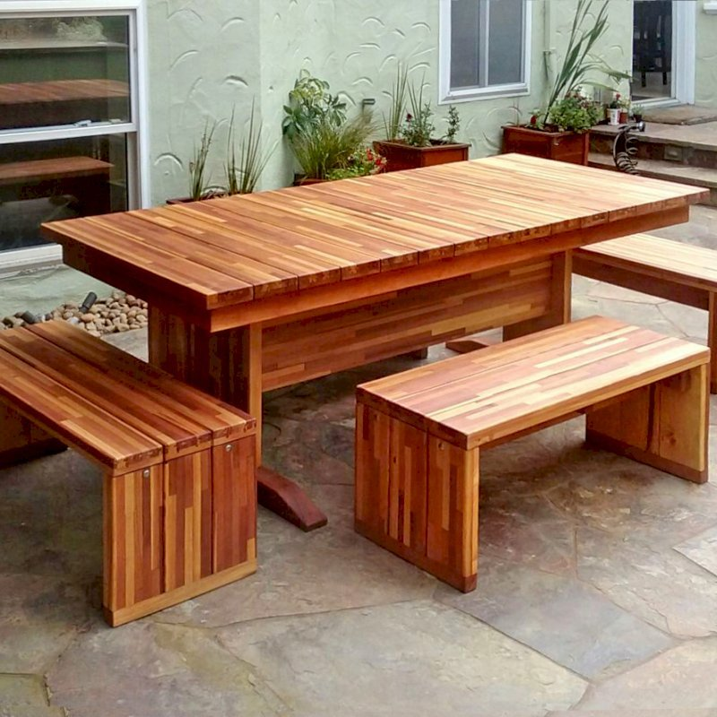 Baja Table (Options: 7 ft L, 36 inches W, Side & End Benches, 2 Half Benches Per Side, Maynard Benches per Custom Request, Mosaic Eco-Wood, Standard Tabletop, Squared Corners, No Umbrella Hole, Transparent Premium Sealant). Photo Courtesy of K. Haitz of San Francisco, CA.