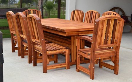 Baja Outdoor Redwood Dining Table