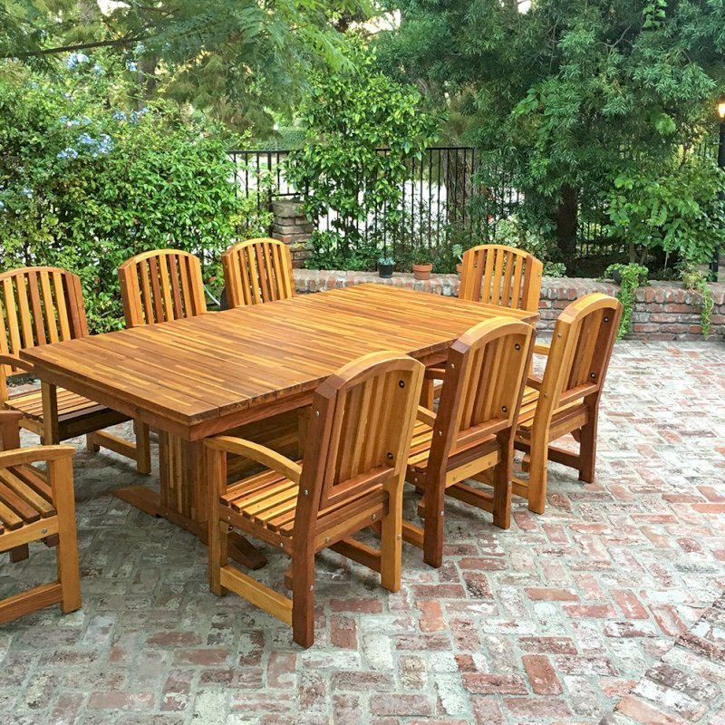 Baja Table (Options: 8 ft L, 48 inches W, Chairs, Mosaic Eco-Wood, 8 Chairs, Luna, Side Chairs Only, No Cushion, Standard Tabletop, Squared Corners, No Umbrella Hole, Transparent Premium Sealant). Photo Courtesy of C. Barty of Irvine, CA.