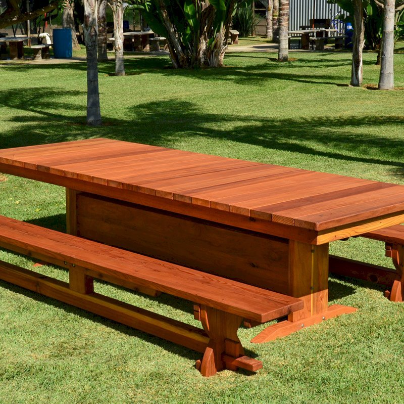 Baja Table (Options: 10 ft L, 42inches W top, Side Benches, California Redwood, Trestle Bench, 1 Full Length Benche Per Side, Standard Tabletop, Slightly Rounded Corners, No Umbrella Hole, Transparent Premium Sealant).