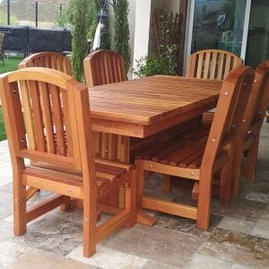 Baja Table (Options: 7 ft L, 36 inches W, Chairs, Mosaic Eco-Wood, 6 Chairs, Luna, Side Chairs Only, No Cushion, Standard Tabletop, Squared Corners, No Umbrella Hole, Transparent Premium Sealant). Photo Courtesy of G. Shepard of San Marcos, CA.