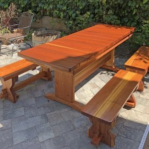 "Baja Table (Options: 6 ft L, 30 inches W, Side Benches, 2 Half Benches Per Side, California Redwood, Standard Tabletop, Squared Corners, 2"" Umbrella Hole, Transparent Premium Sealant). Photo Courtesy of H. Schiraldi of San Francisco, CA."
