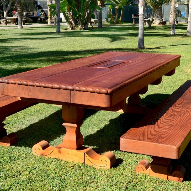 "Custom Design (Options: 8' L x 3'-5"" W, Old-Growth Redwood, 1/2"" Corner Rounding, Custom Engraving). Made with 6 x 14 vertical grain timbers for the tabletop and a lot of custom carving!"