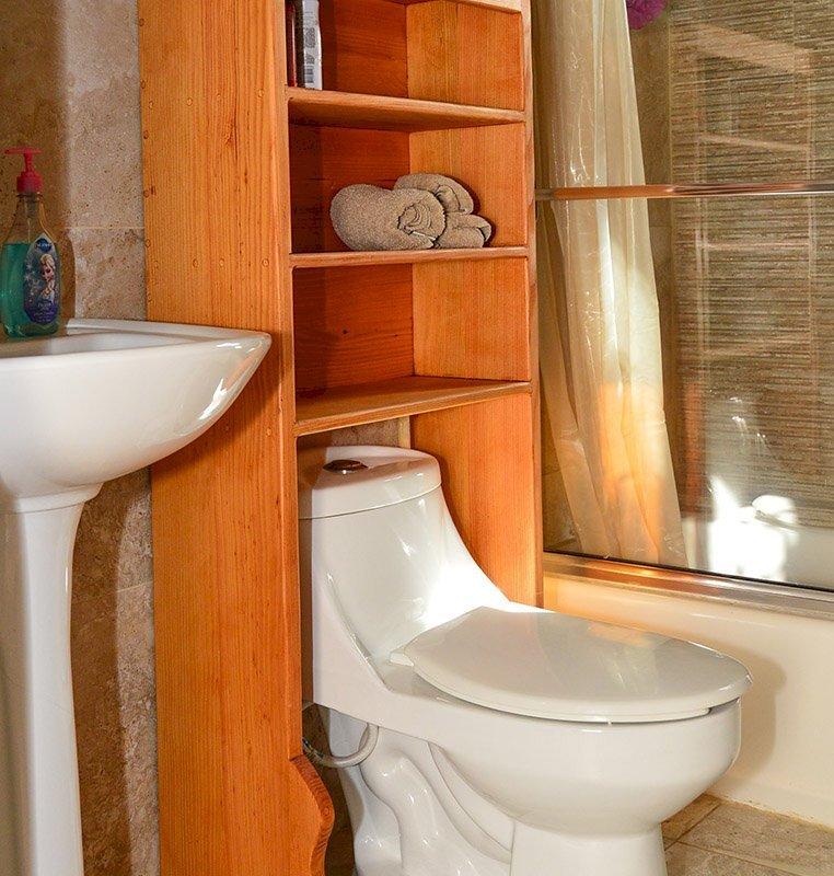 "Bathroom Shelving/Organizer (Options: 25 1/2"" W x 10"" D x 56"" H, Douglas-Fir, Transparent Premium Sealant)"