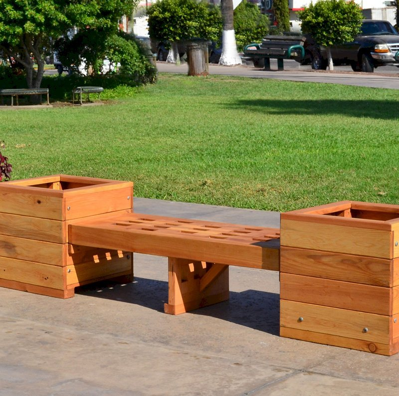"Bench and Planters Combo (Options: 4 ft Bench Length, 20"" L x 20"" D x 20"" H Planter Size, Douglas-fir, Lighthouse Bench Style, 14 inches Bench Heigth, 17 3/4 inches Bench Width, No Engraving, Mendocino, With Feet, No Growing Vegetables, Transparent Premium Sealant)."