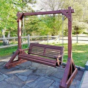 Bench Swing Set (Options: Large Bench, No Swing Roof, California Redwood, Ensenada Style Seat, No Engraving, Coffee-Stain Premium Sealant). Photo Courtesy of J. Treisman of Mahopac, New York.