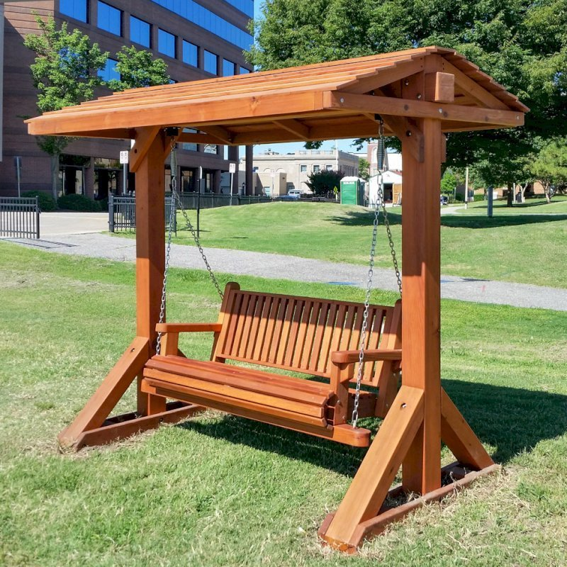 Bench Swing Set (Options: Large Bench, With Swing Roof, Mature Redwood, Classic Style Seat, No Engraving, Transparent Premium Sealant). Photo Courtesy of Mark K. of Hampton, Virginia.