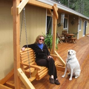 Bench Swing Set (Options: Standard Bench, No Swing Roof, Douglas-Fir, Ensenada Style Seat, No Engraving, Cedar-Stain Premium Sealant). Photo Courtesy of Patricia Royman of Cobb, CA.