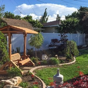Bench Swing Set (Options: Large Bench, Include Swing Roof, Old-Growth Redwood, Ensenada Style Seat, No Engraving, Transparent Premium Sealant). Photo Courtesy of Ann Harrington of Salt Lake City, Utah.