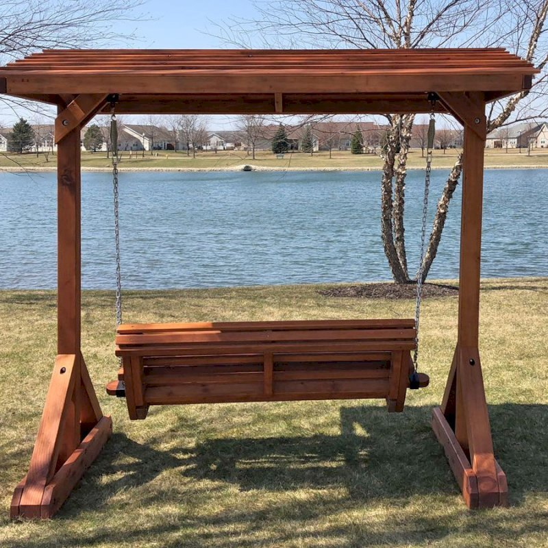 Bench Swing Set (Options: Large Bench, Include Swing Roof, Mature Redwood, Ensenada Style Seat, Custom Engraving, Transparent Premium Sealant). Photo Courtesy of B. Kaky of Crest Hill, IL.