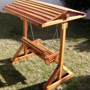 FROM BEHIND: Bench Swing Set (Options: Standard Bench, Include Swing Roof, Redwood, Ensenada Style Seat, No Engraving, Transparent Premium Sealant).