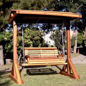 Bench Swing Set (Options: Standard Bench, Include Swing Roof, Redwood, Ensenada  Style Seat, No Engraving, Transparent Premium Sealant).