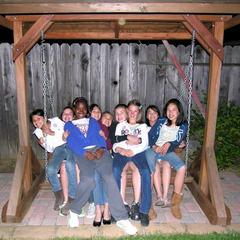 When the party gets out of control... we can send replacement springs! Bench Swing Set (Options: Large Bench, Include Swing Roof, Mature Redwood, Classic Style Seat, No Engraving, Transparent Premium Sealant). Photo Courtesy of Steve Churchwell of Sacramento, CA.