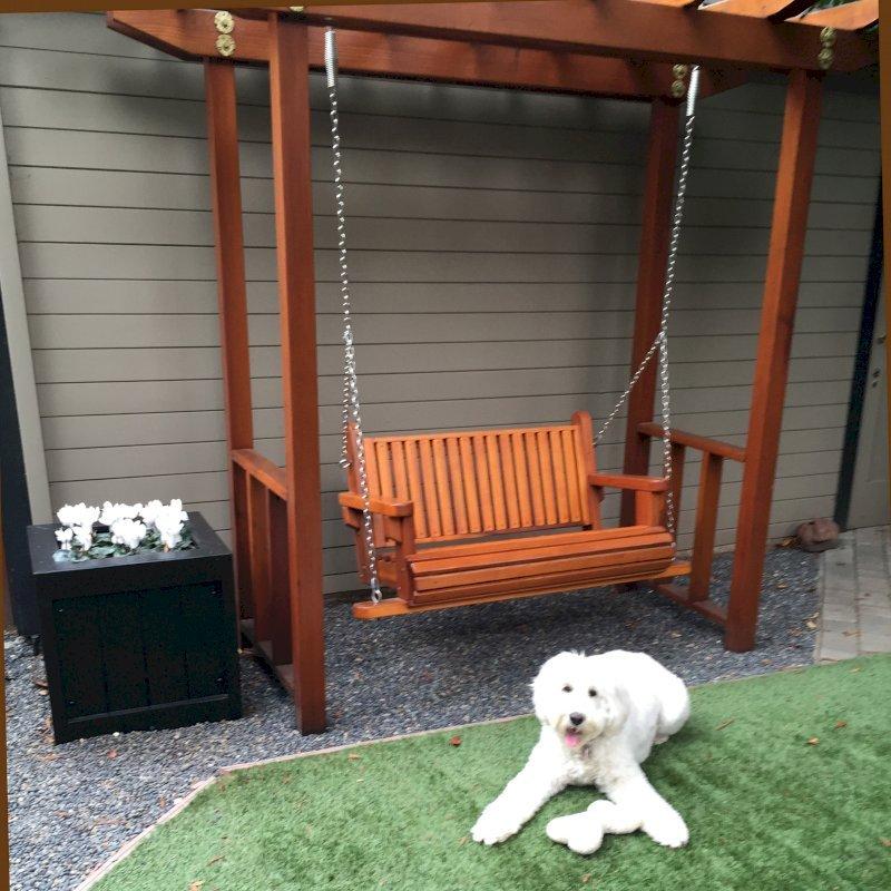 Custom Bench Swing Set (Options: Standard Bench, Custom Swing Roof, California Redwood, Classic Style Seat, No Engraving, Transparent Premium Sealant). Photo Courtesy of Susan H. of Palo Alto, CA.