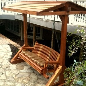 Bench Swing Set (Options: Large Bench, Include Swing Roof, Old-Growth Redwood, Kentucky Style Seat, No Engraving, [Custom Seat Cushion with Sunbrella Brand fabric], Transparent Premium Sealant).