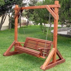 Bench Swing Set (Options: Large Bench, No Swing Roof, Old-Growth Redwood, Ensenada Style Seat, No Engraving, Transparent Premium Sealant).