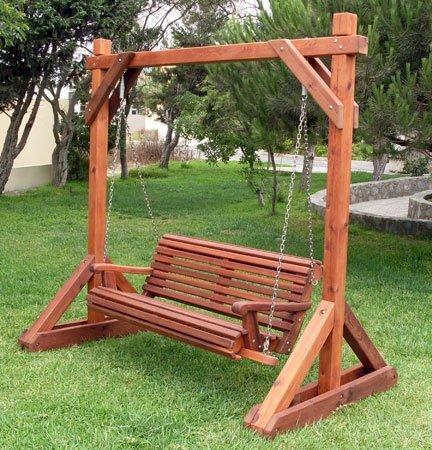 Bench Swing Set (Options: Large Bench, No Swing Roof, Old-Growth Redwood, Ensenada Style Seat, No Engraving, Transparent Premium Sealant).