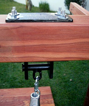 Extra Heavy Duty Pivoting Steel Swing Hardware (included with each set, and available as an option when buying just the swing bench seat)