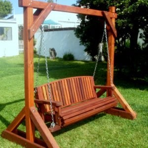 Bench Swing Set (Options: Large Bench, No Swing Roof, Old-Growth Redwood, Luna Backrest Seat, No Engraving, Transparent Premium Sealant).