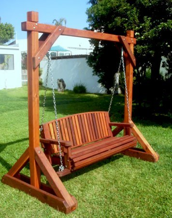 Bench Swing Set (Options: Large Bench, No Swing Roof, Old-Growth Redwood, Luna Backrest Seat, No Engraving, Transparent Premium Sealant).