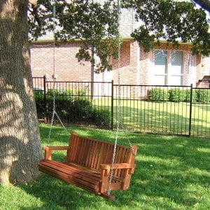 Bench Swing (Options: Large Garden Bench, Mature Redwood, Classic Seat Design, No Engravin, All Tree Hanging Hardware, Transparent Premium Sealant).