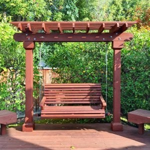 Bench Swing (Options: Large Garden Bench, Old-Growth Redwood, Ensenada Style Seat, No Engraving, All Beam Hanging Hardware, Unfinished). Photo Courtesy of L. Rastogi of Cupertino, CA.