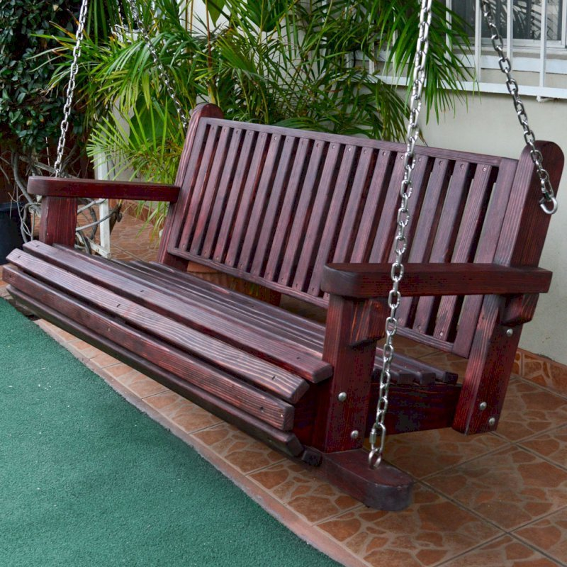 Bench Swing (Options: Large Garden Bench, California Redwood, Classic Seat Design, No Engraving, All Beam Hanging Hardware, Cherry Stain Premium Sealant).
