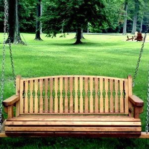 Bench Swing (Options: Large Bench Garden Swing, Mature Redwood, Kentucky Seat Design, No Engraving, All Beam Hanging Hardware, Transparent Premium Sealant).