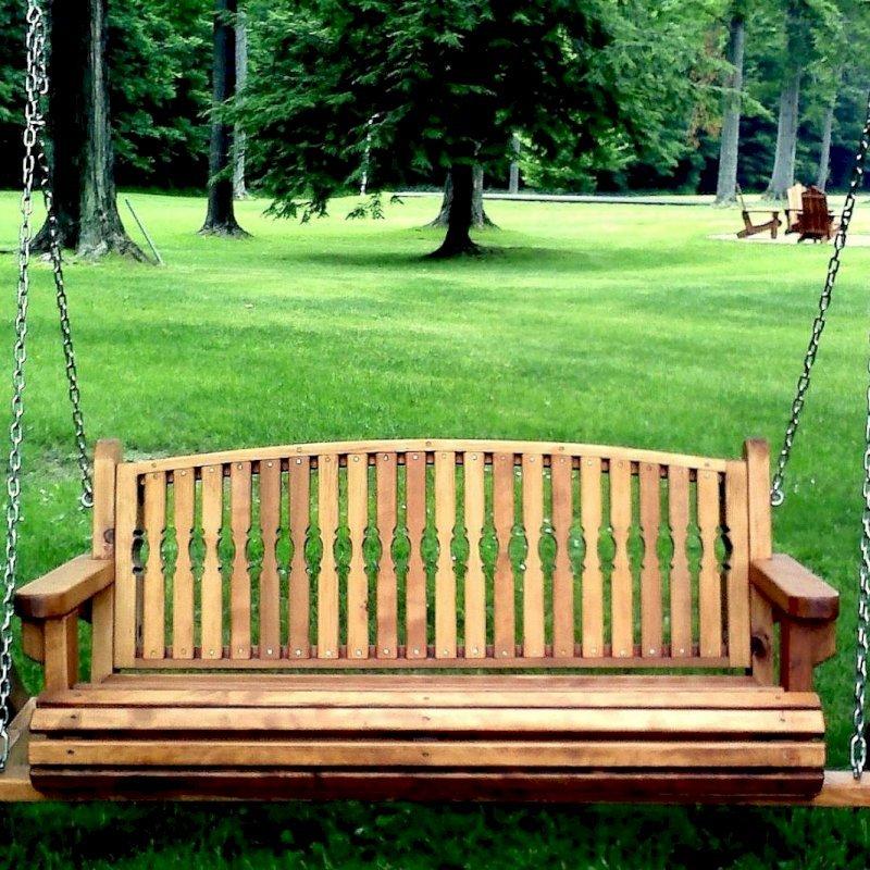 Bench Swing (Options: Large Bench Garden Swing, Mature Redwood, Kentucky Seat Design, No Engraving, All Beam Hanging Hardware, Transparent Premium Sealant).