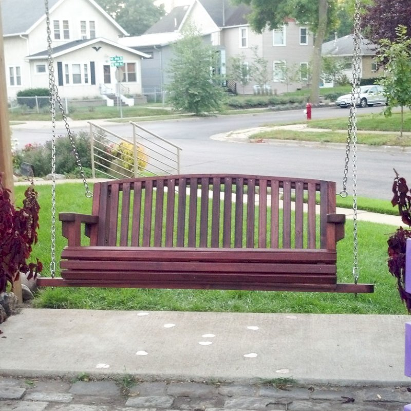 Bench Swing (Options: Large Garden Bench, Old-Growth Redwood, Luna Backrest Seat, No Engraving, All Beam Hanging Hardware, Cherry Stain Premium Sealant). Photo Courtesy of Robert MacDonald of Minneapolis, Minnesota.