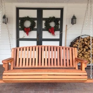 Bench Swing (Options: Large Garden Bench, Redwood, Luna Backrest Seat, No Engraving, All Beam Hanging Hardware, Transparent Premium Sealant).
