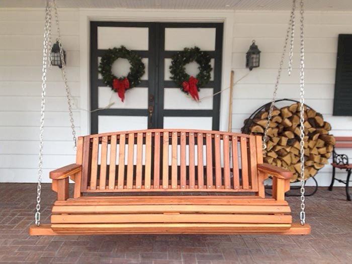 Bench Swing (Options: Large Garden Bench, California Redwood, Luna Backrest Seat, No Engraving, All Beam Hanging Hardware, Transparent Premium Sealant).
