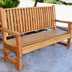 Bonsignour Bench (Options: 5 ft, Douglas-fir, No Cushion, No Engraving, Transparent Premium Sealant).