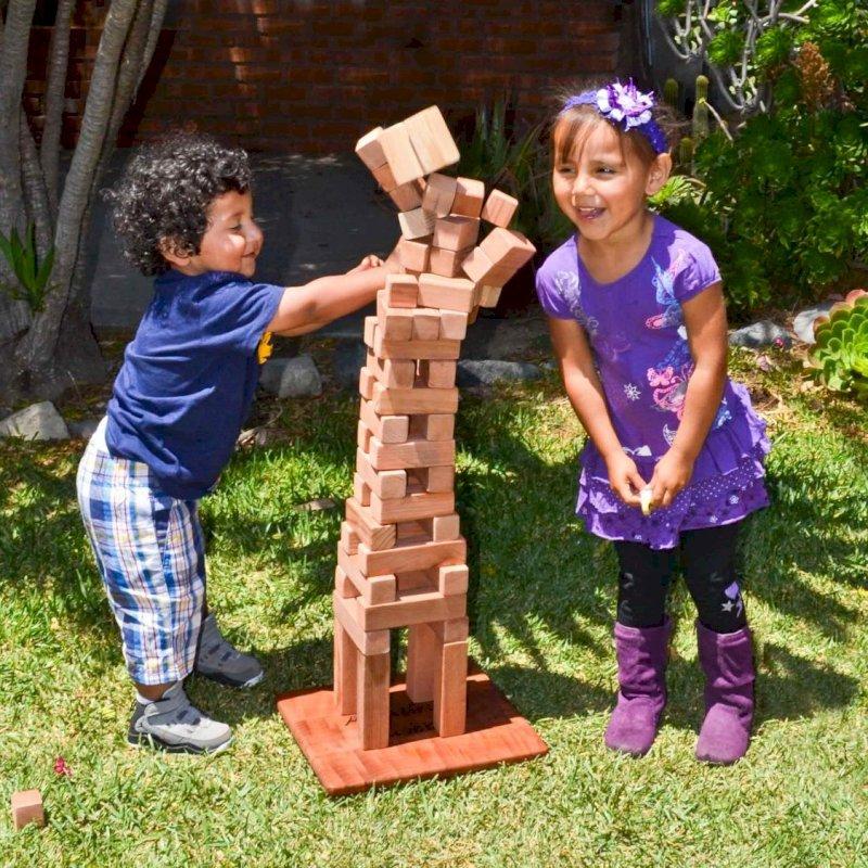 Kid's Building Block Set (Options: 72 Blocks, Include Wooden Box, Mature Redwood, Custom Engraving).