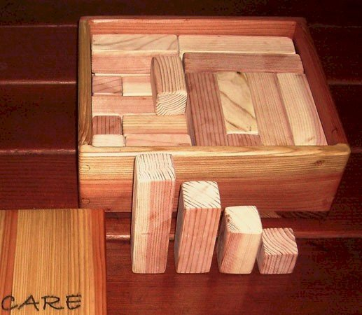 6-Piece Kid's Building Block Set - Blocks in Unfinished Redwood, Mature Redwood, and Old-Growth RedwoodBlock Box is Redwood and Mature Redwood Unfinished.