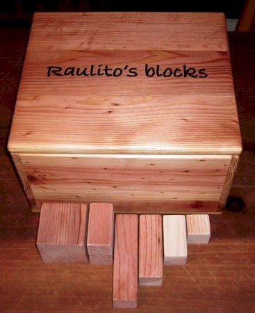 82-Piece Kid's Building Block Set - Finish Box Lid is California Redwood with Wax Finish - Blocks in Unfinished Redwood, Mature Redwood, and Old-Growth Redwood. Block Box is Redwood and Mature Redwood Unfinished.