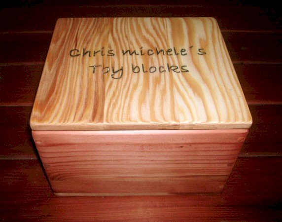 72-Piece Kid's Building Block Set - Block Box in Mature Redwood. Box Lid is in Redwood Unfinished.